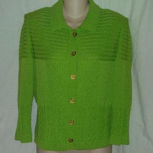 ST. JOHN Knit M Lime Green Knit Cardigan Sweater